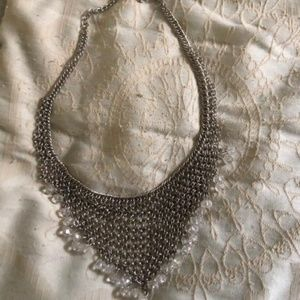 Silver Bib Necklace with Clear Beads